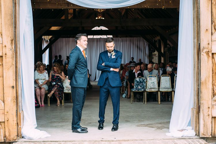 Groom in Navy Reiss Suit | Rustic Wedding at Yoghurt Rooms in Sussex | Louise Griffin Photography