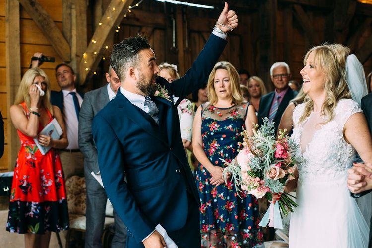 Groom at the Altar in Navy Reiss Suit | Rustic Wedding at Yoghurt Rooms in Sussex | Louise Griffin Photography
