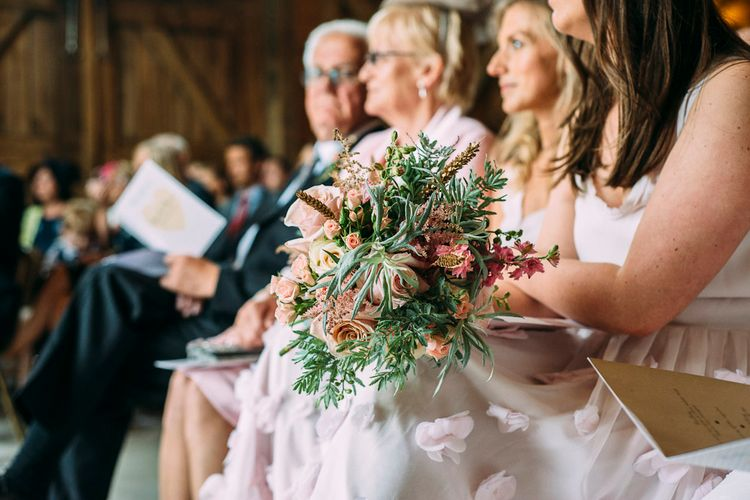 Romantic Blush Pink Bridal Bouquet | Rustic Wedding at Yoghurt Rooms in Sussex | Louise Griffin Photography