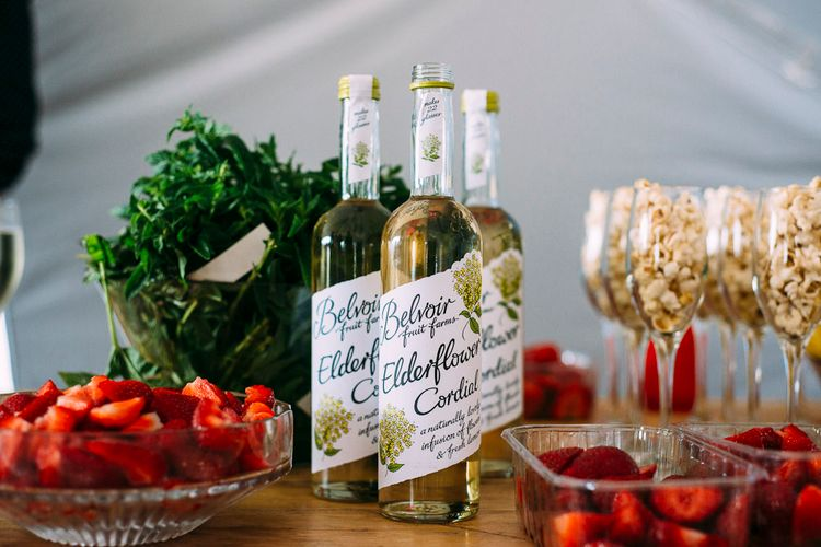 Elderflower Cordial & Fruit Pimp Your Prosecco Station | Rustic Wedding at Yoghurt Rooms in Sussex | Louise Griffin Photography