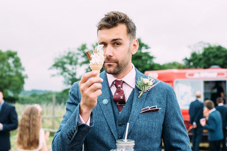 Ice Cream | Rustic Wedding at Yoghurt Rooms in Sussex | Louise Griffin Photography