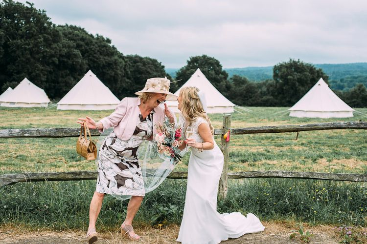 Bride in Ivy & Aster Bridal Gown | Rustic Wedding at Yoghurt Rooms in Sussex | Louise Griffin Photography