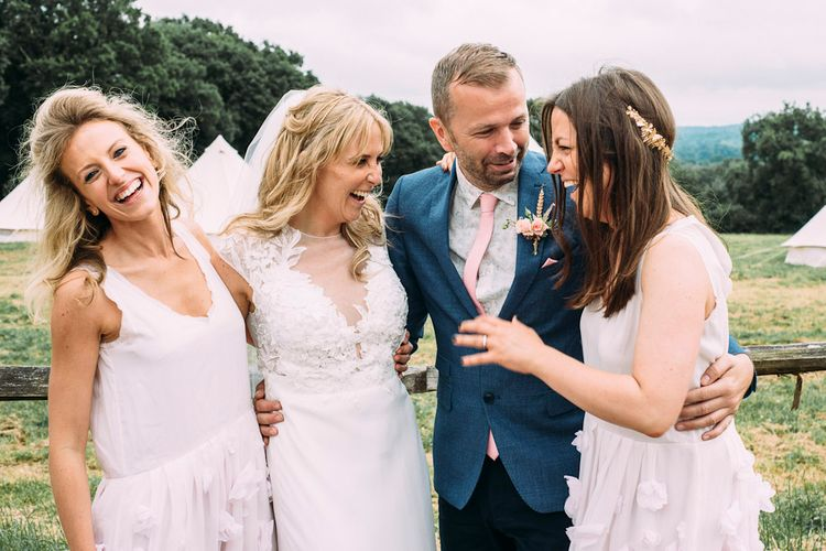 Bride in Aster & Ivy Wedding Dress | Bridesmaids in Blush French Connection Dresses | Rustic Wedding at Yoghurt Rooms in Sussex | Louise Griffin Photography