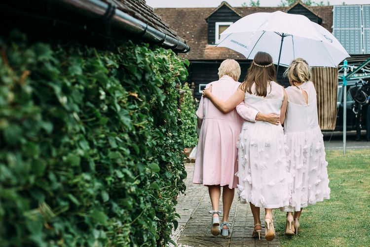 Bridesmaids in Blush French Connection Applique Dresses | Rustic Wedding at Yoghurt Rooms in Sussex | Louise Griffin Photography