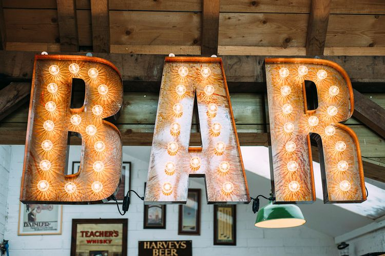 Bar Sign | Rustic Wedding at Yoghurt Rooms in Sussex | Louise Griffin Photography
