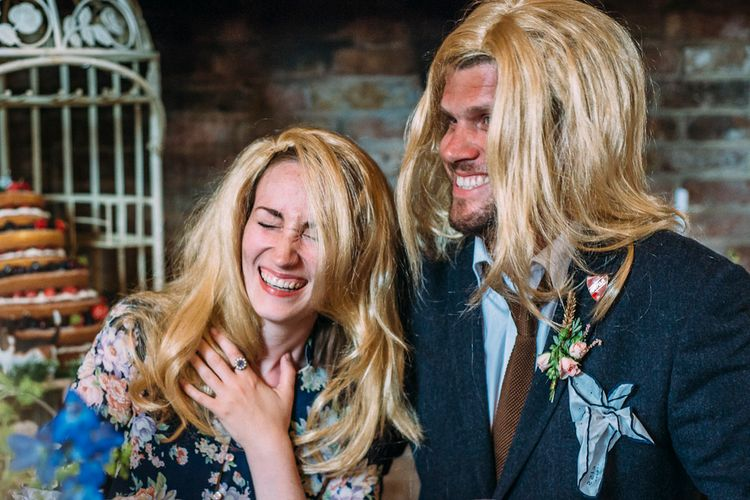 Fake Wigs | Wedding Guests | Rustic Wedding at Yoghurt Rooms in Sussex | Louise Griffin Photography