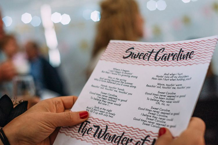 Chevron Wedding Stationery Song Sheets | Rustic Wedding at Yoghurt Rooms in Sussex | Louise Griffin Photography