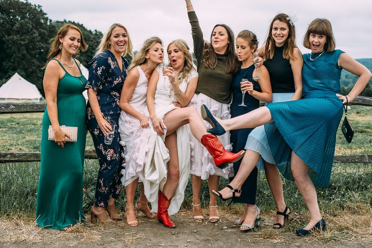 Best Girls Wedding Guests | Rustic Wedding at Yoghurt Rooms in Sussex | Louise Griffin Photography