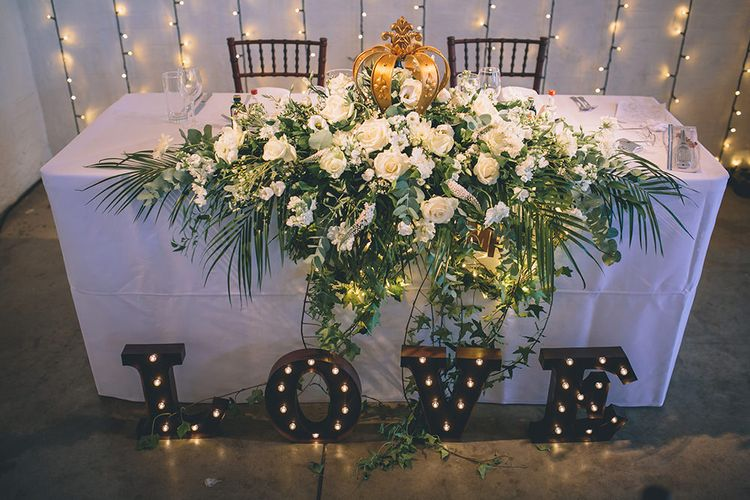 Sweetheart Table with Floral Arrangement & LOVE Letters