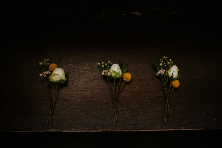 Yellow Buttonhole | Chic Rustic French Wedding at Le Morimont Styled by Féelicité | Photography by Chloe