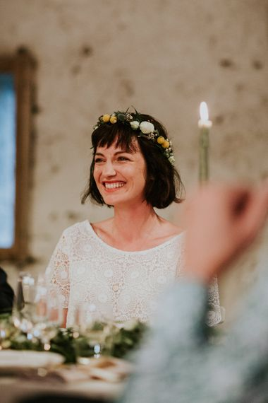 Boho Bride in Bespoke Lace Bridal Separates | Chic Rustic French Wedding at Le Morimont Styled by Féelicité | Photography by Chloe
