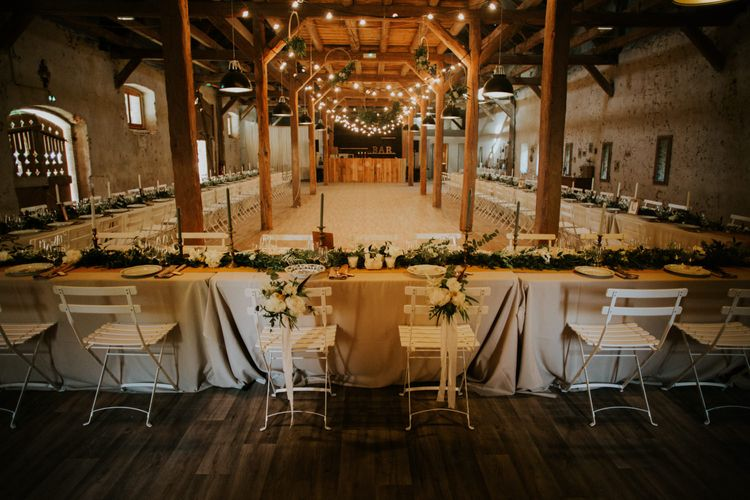 Rustic Barn Wedding Reception | Chic Rustic French Wedding at Le Morimont Styled by Féelicité | Photography by Chloe