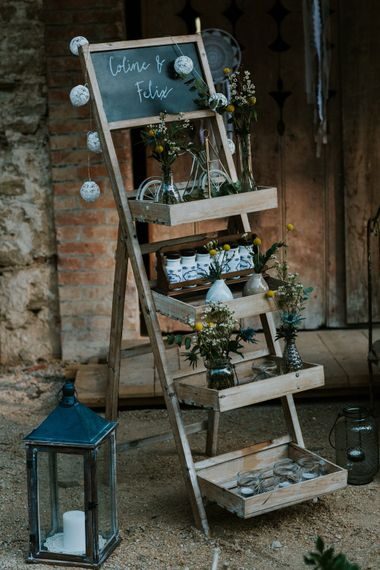 Vintage Step Ladder Wedding Decor | Chic Rustic French Wedding at Le Morimont Styled by Féelicité | Photography by Chloe