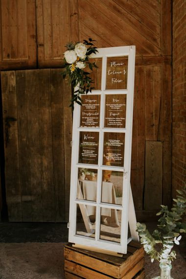 Window Pane Menu Sign | Chic Rustic French Wedding at Le Morimont Styled by Féelicité | Photography by Chloe