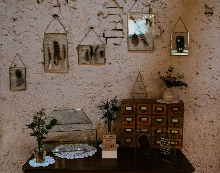 Vintage Dresser Wedding Decor | Chic Rustic French Wedding at Le Morimont Styled by Féelicité | Photography by Chloe