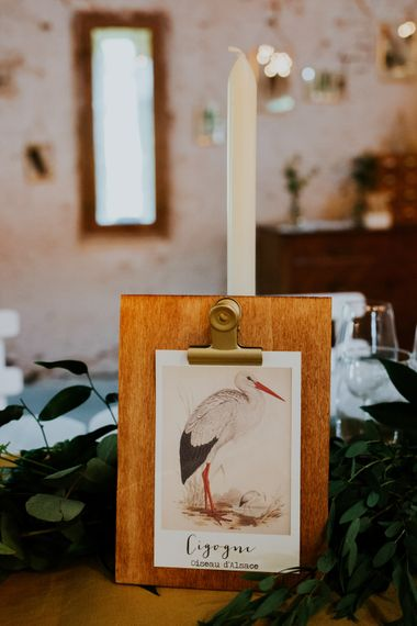 Bird Table Names | Chic Rustic French Wedding at Le Morimont Styled by Féelicité | Photography by Chloe