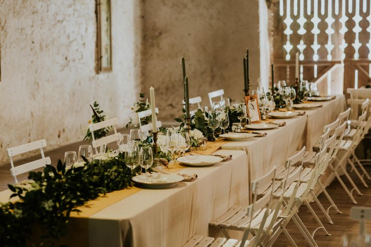 Elegant Tablescape | Greenery Table Runner | Chic Rustic French Wedding at Le Morimont Styled by Féelicité | Photography by Chloe