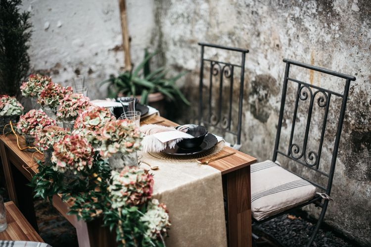 Wedding Sweetheart Table With Hydrangea