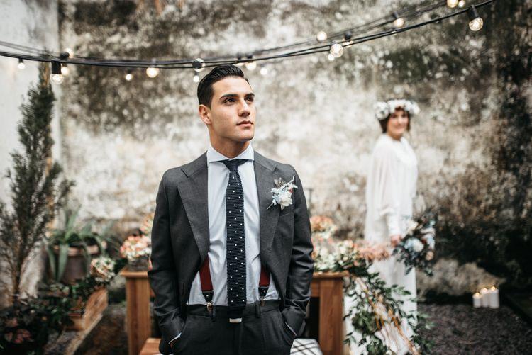 Groom in Braces with Polka Dot Tie