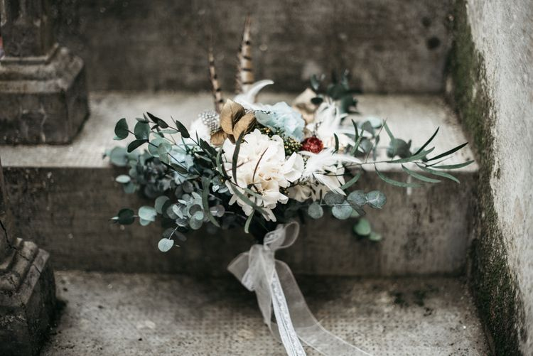 Autumnal Wedding Bouquet With Feathers