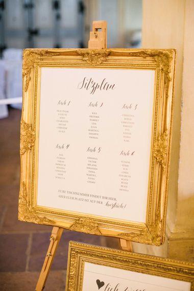 Ornate Gold Guilt Frame Wedding Breakfast Table Plan