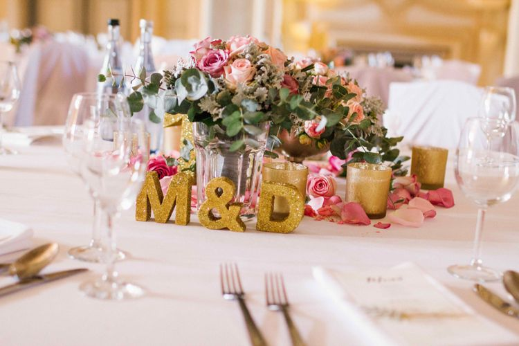 Floral Centrepieces with Gold Glitter Monogram Decor