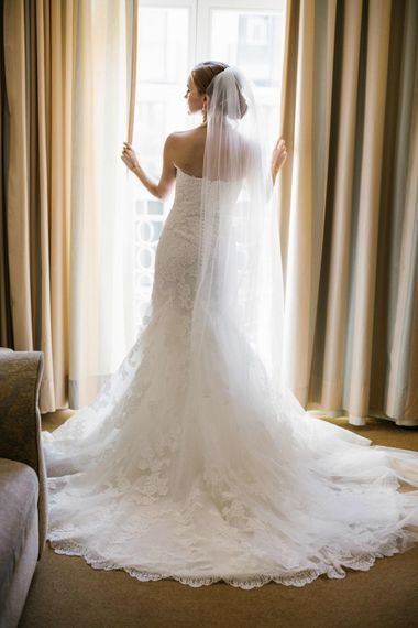 Bride in Strapless Lace San Patrick Wedding Dress