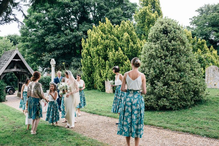 Bridesmaids in Liberty Print Skirts