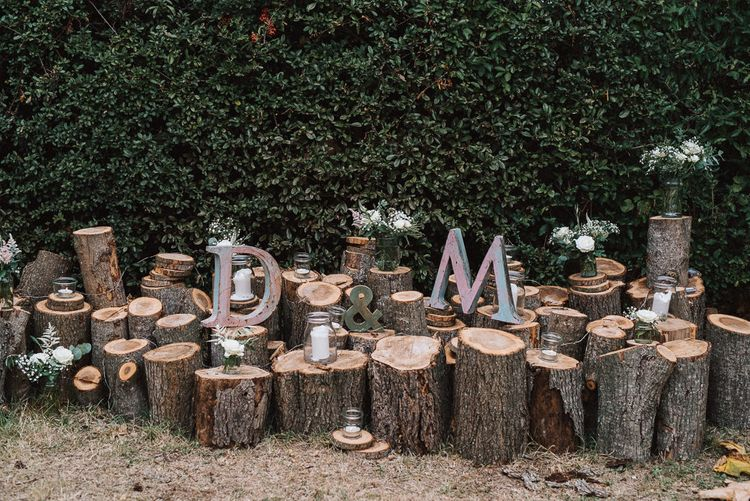 Rustic Tree Stump Wedding Decor