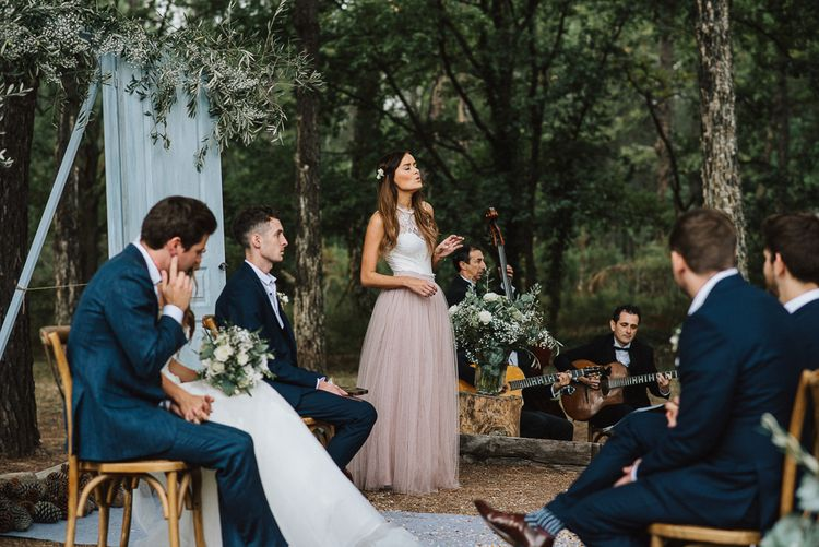 Outdoor Wedding Ceremony with Bridesmaid in Tulle Skirt & Lace Top Separates