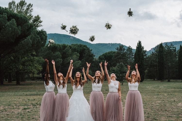 Bridesmaids in Tulle Little Mistress Skirts & Topshop Tops | Bridesmaid Separates