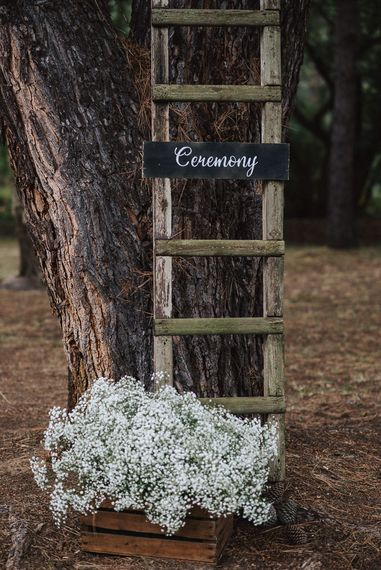 Rustic Wooden Step Ladder & Crate Wedding Decor