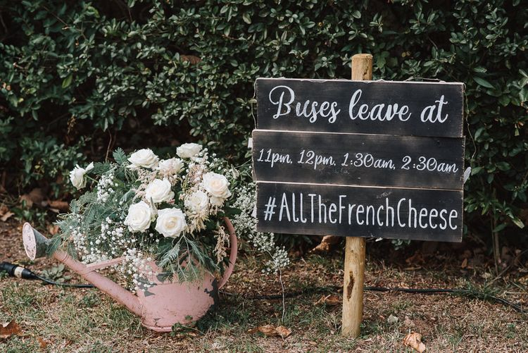 Rustic Wedding Decor | Watering Can full of Flowers | Chalkboard Wedding Sign