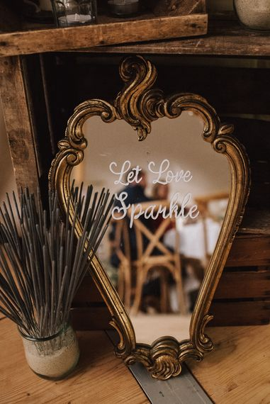 Mirror Let Love Sparkle Wedding Sign