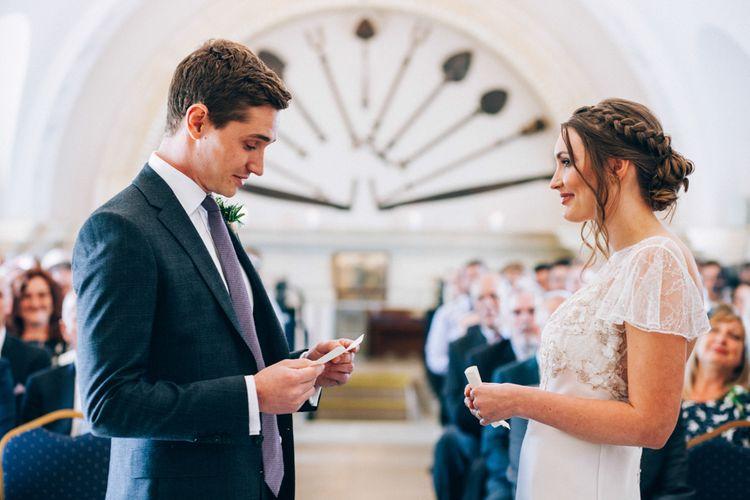 Normanton Church Rutland Water Wedding Ceremony with Bride in David Fielden Wedding Dress