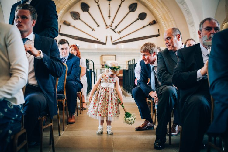 Normanton Church Rutland Water Wedding Ceremony with Flower Girl in Handmade Liberty Print Floral Dress