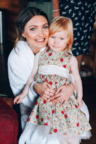 Bride & Flower Girl in Homemade Liberty Print Floral Dress