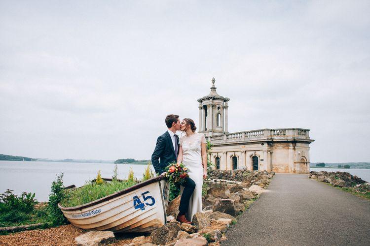 Normanton Church Rutland Water with Bride in David Fielden Wedding Dress & Groom in Reiss Suit