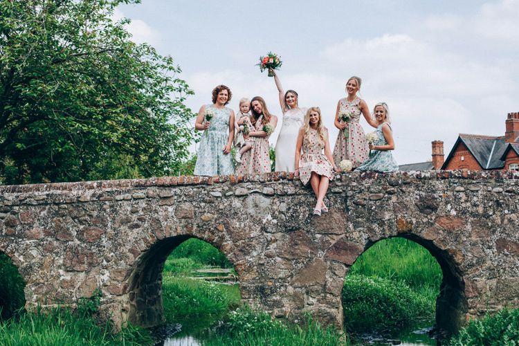 Bridesmaids in Homemade Liberty Print Floral Dresses