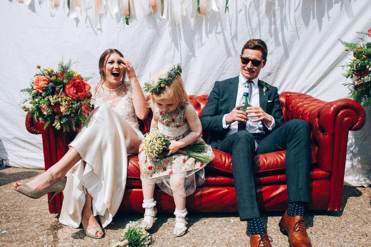 Bride in David Fielden Wedding Dress, Groom in Reiss Suit & Flower Girl in Liberty Print Dress