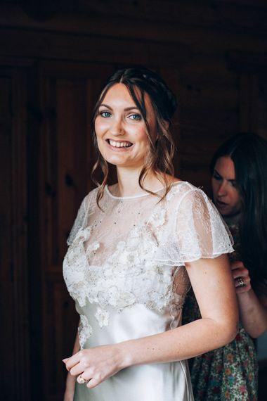 Bride in David Fielden Wedding Dress