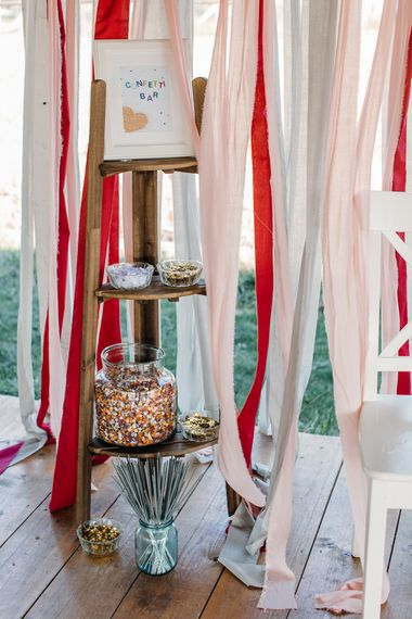 Confetti Stepladder Bar with Ribbon Backdrop