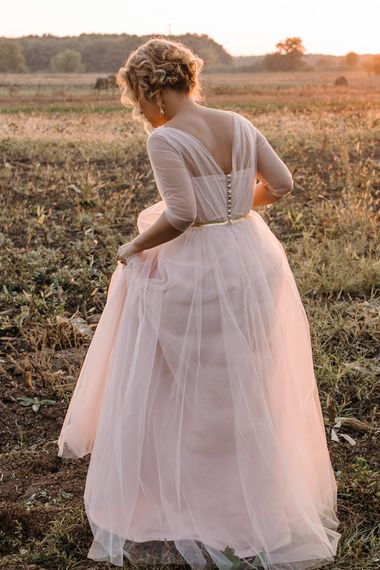 Bride in Bespoke Pink Tulle Gown
