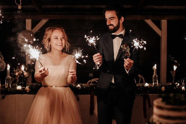 Sparkler Moment with Bride in Bespoke Pink Tulle Gown & Groom in Vitale Barberis Canonico Suit