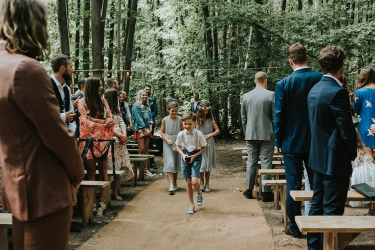Wedding Ceremony | Page Boy & Flower Girls | Outdoor Woodland Wedding at The Dreys in Kent | Fern Edwards Photography