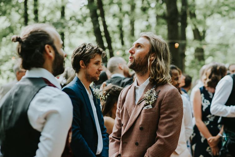 Wedding Ceremony | Groom in Brown Check Suit | Outdoor Woodland Wedding at The Dreys in Kent | Fern Edwards Photography