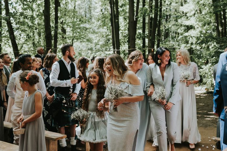 Wedding Ceremony | Bridesmaid Entrance in Different Outfits | Outdoor Woodland Wedding at The Dreys in Kent | Fern Edwards Photography