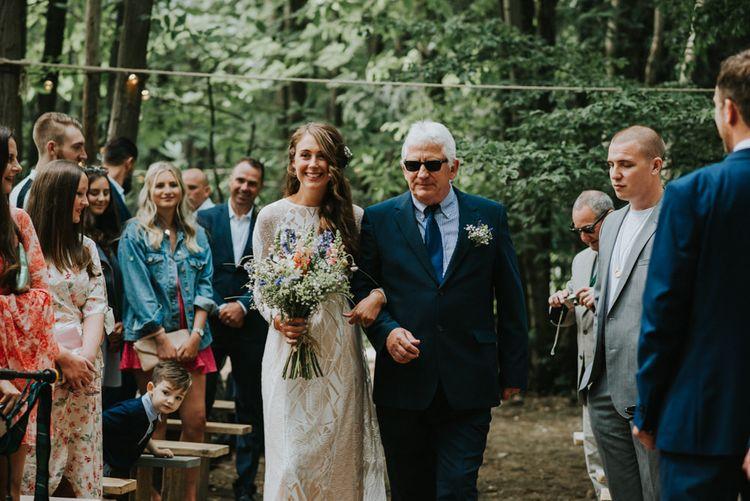 Wedding Ceremony | Bridal Entrance in Grace Loves Lace Gown | Outdoor Woodland Wedding at The Dreys in Kent | Fern Edwards Photography