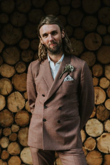 Groom in Brown Check Suit | Outdoor Woodland Wedding at The Dreys in Kent | Fern Edwards Photography