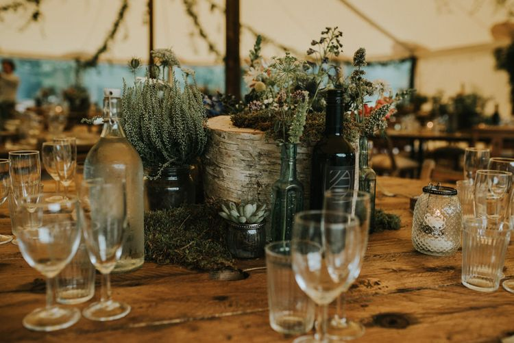 Plant Pot & Foliage Centrepieces   Outdoor Woodland Wedding at The Dreys in Kent   Fern Edwards Photography